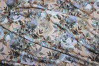 Ткань Ангора софт принт , голубая роза на беже, пог. м., №1346, фото 1