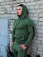 Спортивный костюм мужской весенний осенний с черными лампасами, цвет зеленый (хаки), фото 1