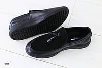 Мужские мокасины черные кожаные с замшей, фото 1