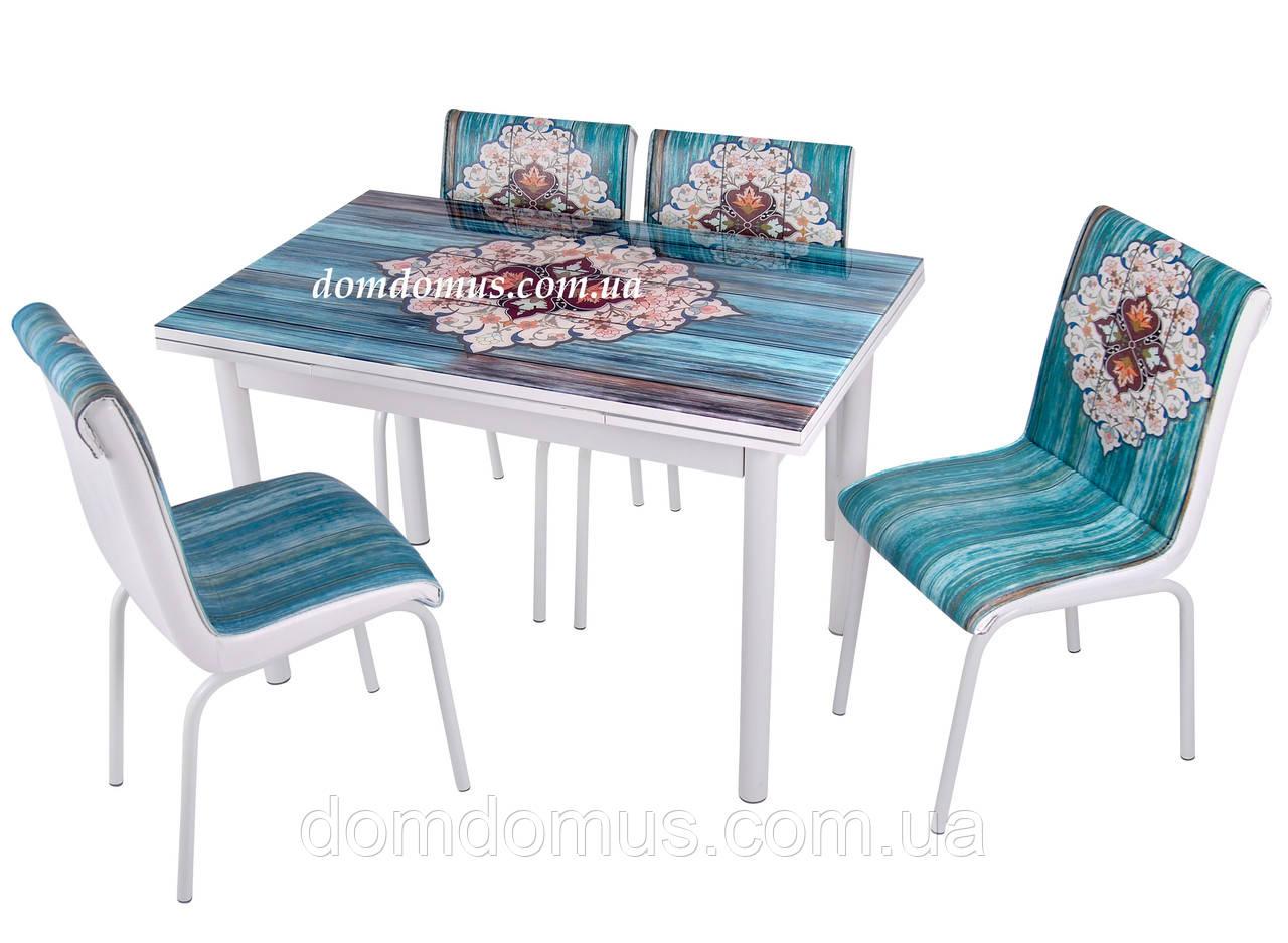 """Комплект обеденной мебели """"CINI"""" (стол ДСП, каленное стекло + 4 стула) Mobilgen, Турция"""