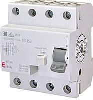 Дифференциальное реле ETI (УЗО) EFI-4 4P 63A 30mA 10kA AC (2062144)