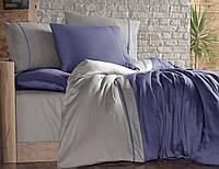 Постельное белье First Choice 200х220 сатин двухцветный indigo bej