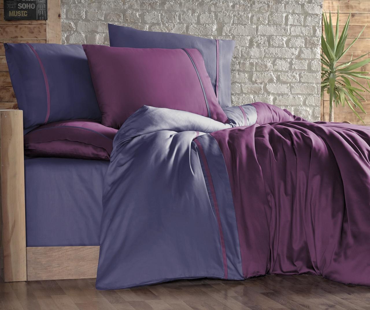 Постельное белье First Choice 200х220 сатин двухцветный mor indigo