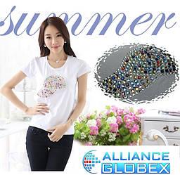 Женская футболка со стразами и камнями