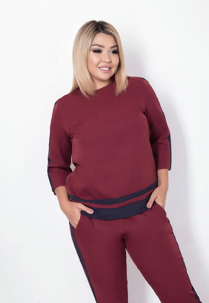 Женский брючный костюм с лампасами, бордовый. Размеры: 48, 50, 52, 54