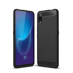 Чехол накладка для Vivo NEX S силиконовый, Carbon Fiber, черный