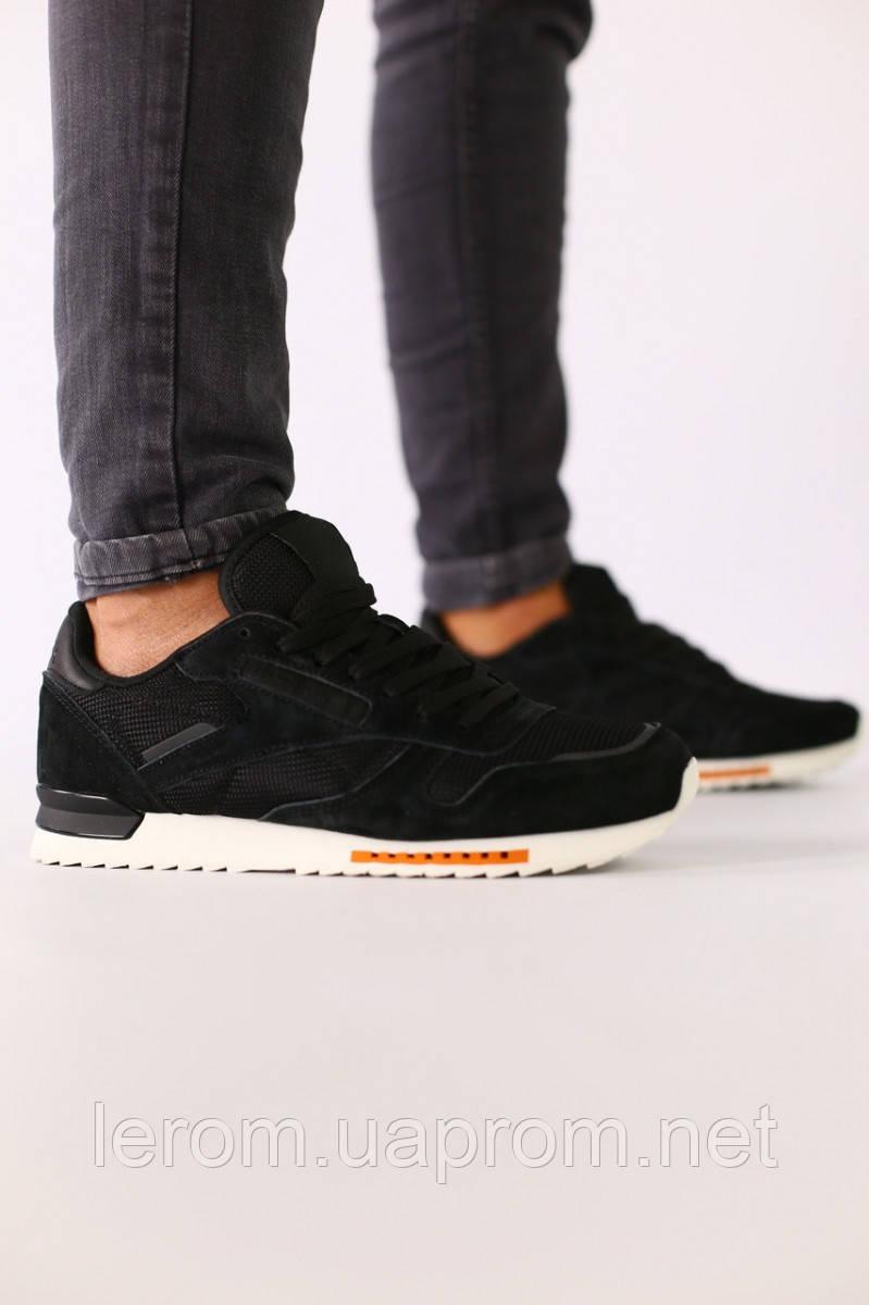 Мужские черные замшевые кроссовки с черными кожаными вставками