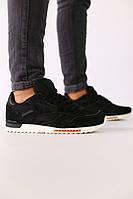 Мужские черные замшевые кроссовки с черными кожаными вставками, фото 1