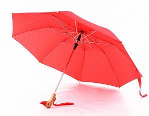 Зонт с деревянной ручкой голова утки Красный