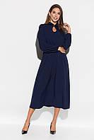 Расклешенное темно-синее платье миди, фото 1