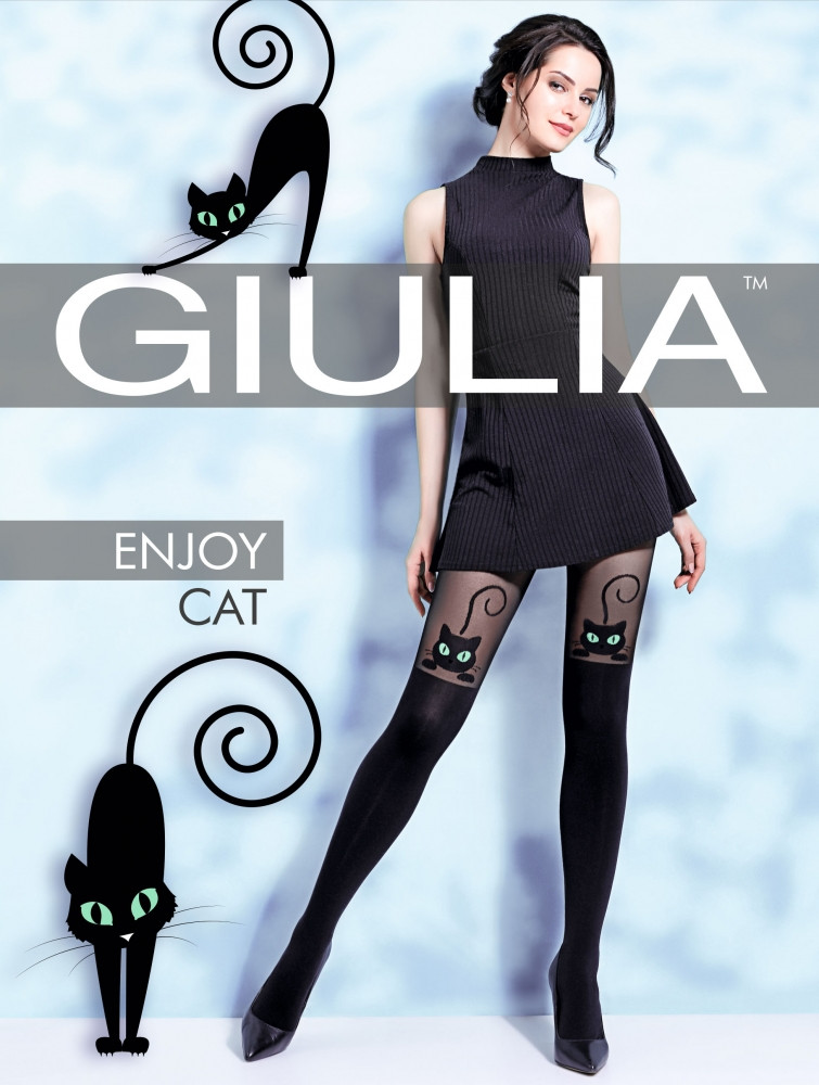 Фантазийные колготки с имитацией чулков и рисунком кошка GIULIA ENJOY CAT 60 model 2