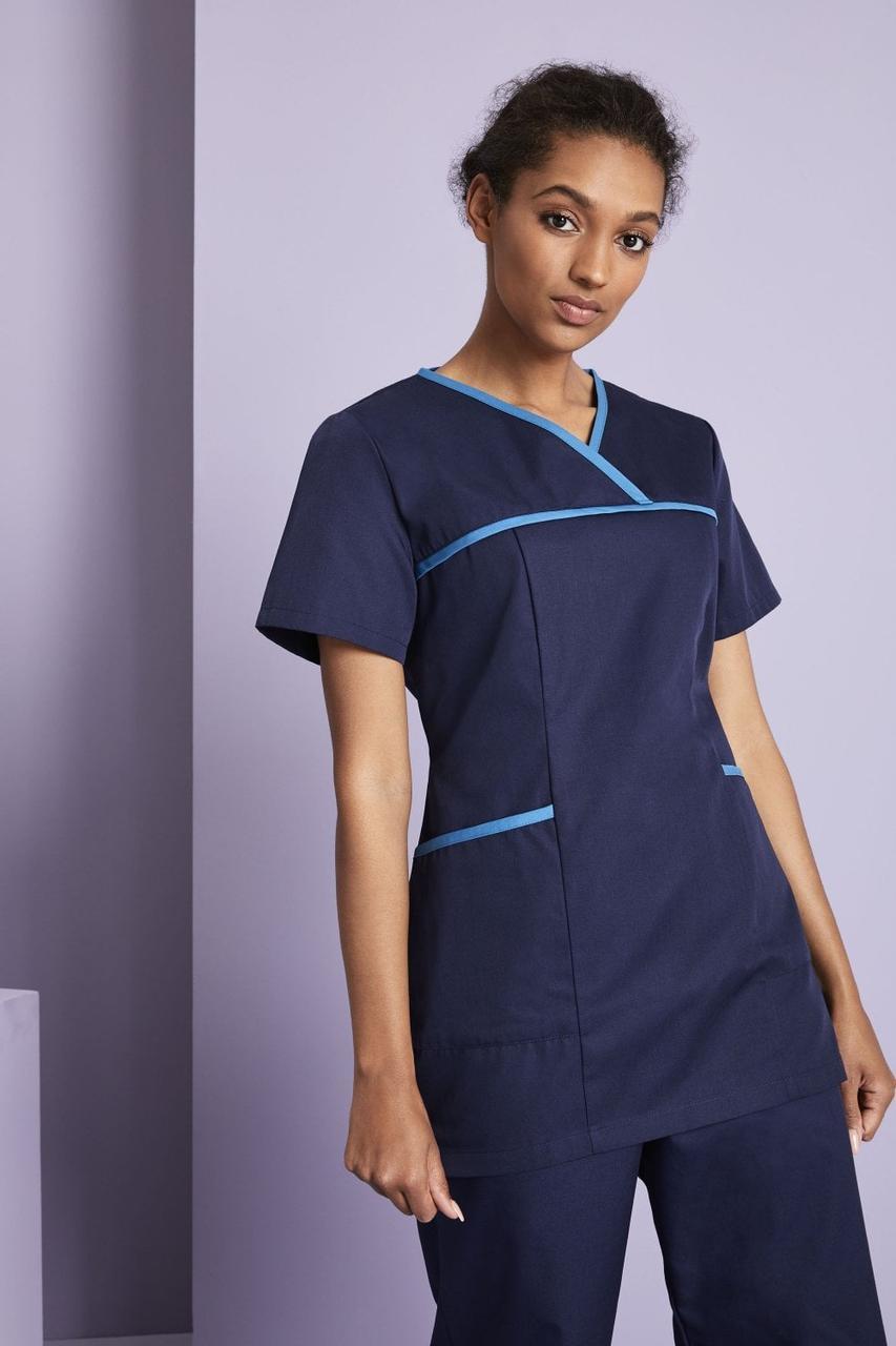 Медицинский костюм женский темно синий с бирюзовым кантом - 03108