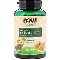"""Омега-3 для собак и кошек NOW Foods, Pets """"Omega-3 Support for Dogs/Cats"""" рыбный вкус (180 гелевых капсул)"""