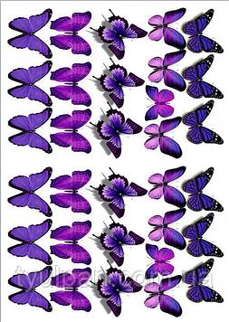 Вафельная картинка бабочки фиолетовые
