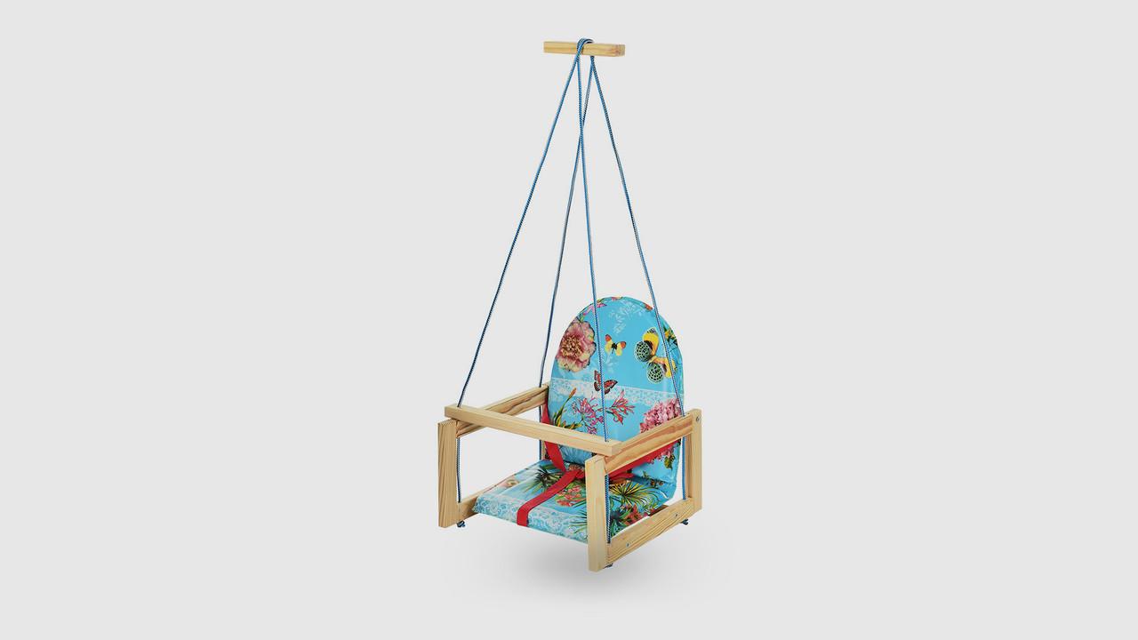 Качель детская деревянная на веревках.V701-14. Бирюзовый. Бабочка. Цветок