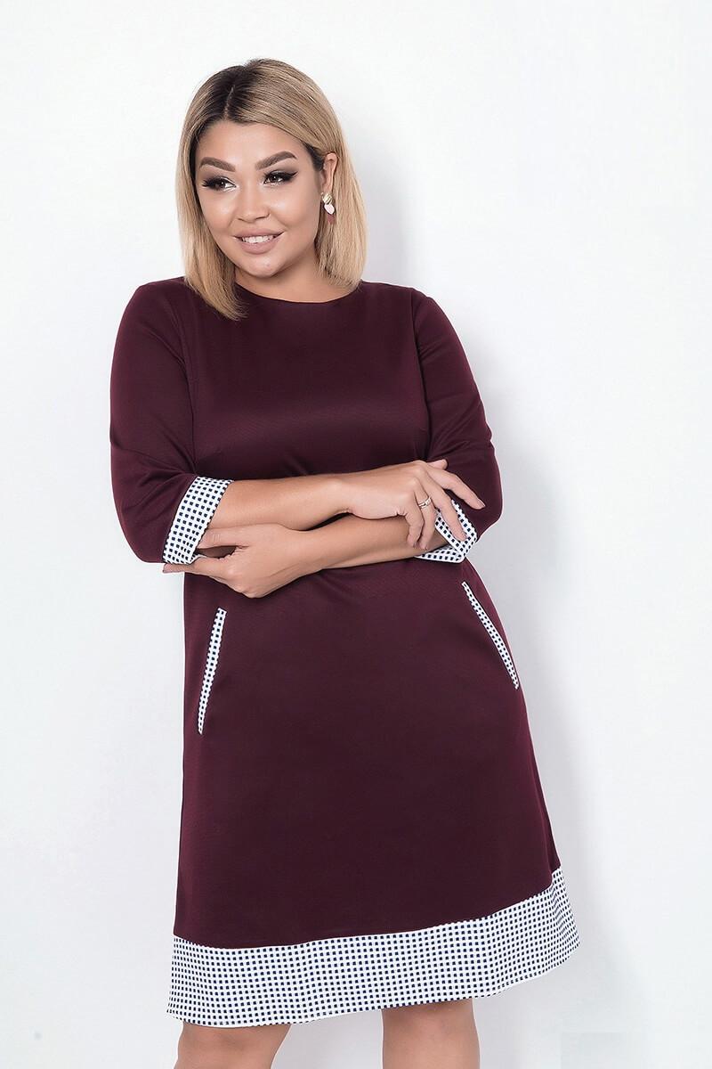 Платье женское со вставками из клетки, бордо. Размеры: 48, 50, 52, 54