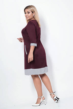 Платье женское со вставками из клетки, бордо. Размеры: 48, 50, 52, 54, фото 2