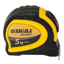 Рулетка магнитная обрезиненная с автостопом 5м*19мм Sigma (3824051), фото 2
