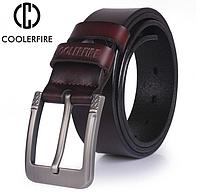 Кожаный мужской ремень Coolerfire HQ031 - Coffee, фото 1