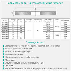 Круг отрезной по металлу и нержавеющей стали Ø180x1.6x22.2мм, 8500об/мин Sigma (1940231), фото 2