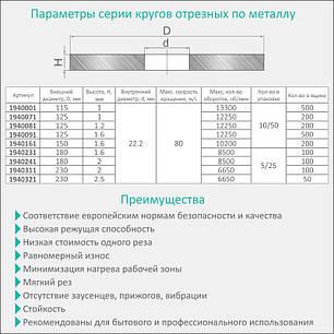 Круг отрезной по металлу и нержавеющей стали Ø230x2.5x22.2мм, 6650об/мин Sigma (1940321), фото 2