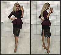 Шикарное женское платье с баской и отделкой гипюра  42-44, 44-46