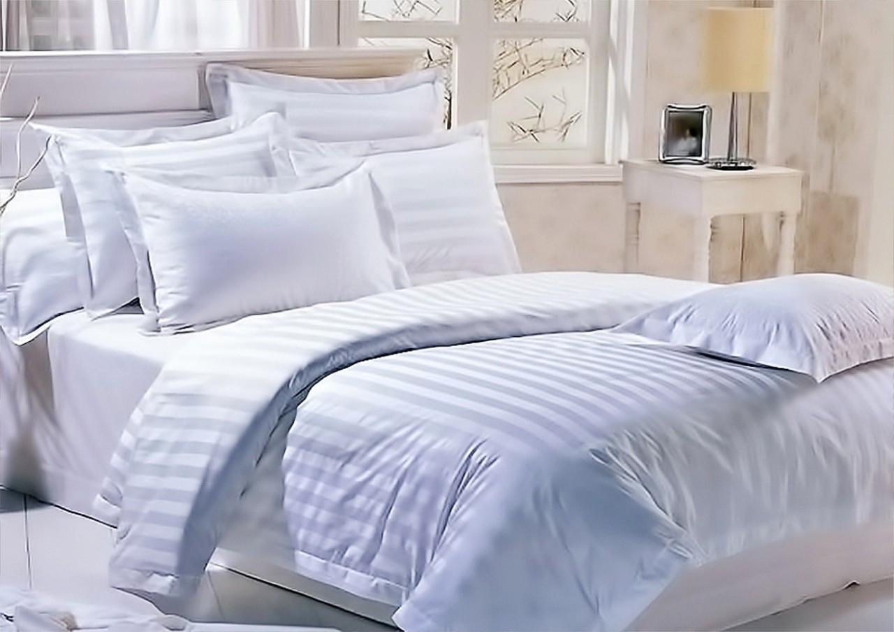 Комплект постельного белья  Ранфорс  Страйп  Белый двуспальный