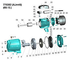 Насос центробежный самовсасывающий 0.45кВт Hmax 41м Qmax 45л/мин LEO 3.0 (775382), фото 2
