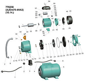 Насосная станция с внешним эжектором 0.75кВт HSmax 35м Hmax 50м Qmax 30л/мин (внеш эжектор Ø96мм) 24л LEO 3.0 (776238), фото 2