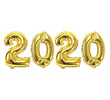 Фольгированные цифры набор 2020ЗолотоКитай, 80 см(30')