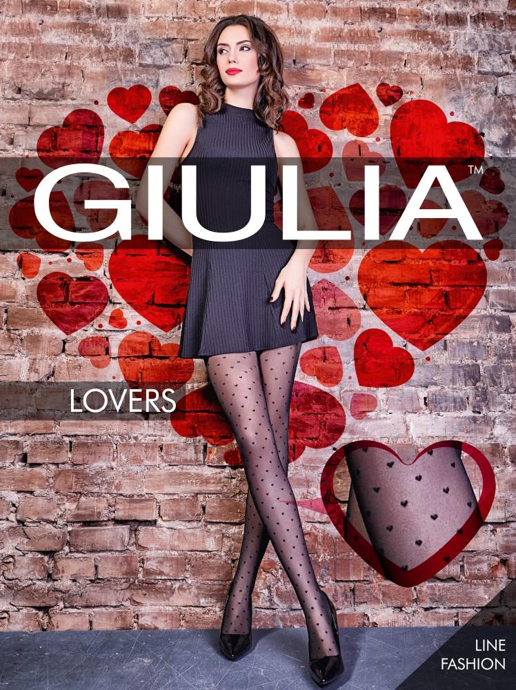 Фантазийные колготки Giulia LOVERS  MODEL 4 20 den с узором сердечки