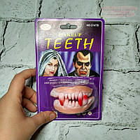 Зубы клыки вампира резиновые, челюсть вампира