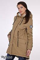 """Куртка-парка для беременных """"Inira"""", утепленная, песочного цвета, фото 1"""