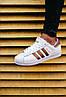 Мужские кроссовки Adidas Superstar White Gold (адидас суперстар, белые / золотистые) - Фото