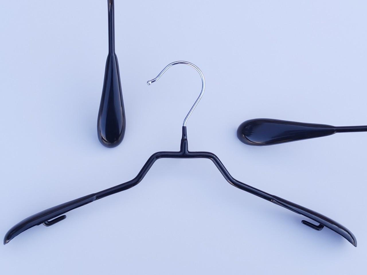 Плечики металлические в силиконовом покрытии широкие черные, 38 см