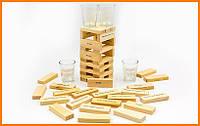 Дженга Пьяная башня с рюмками 60 фишек 4 стопки