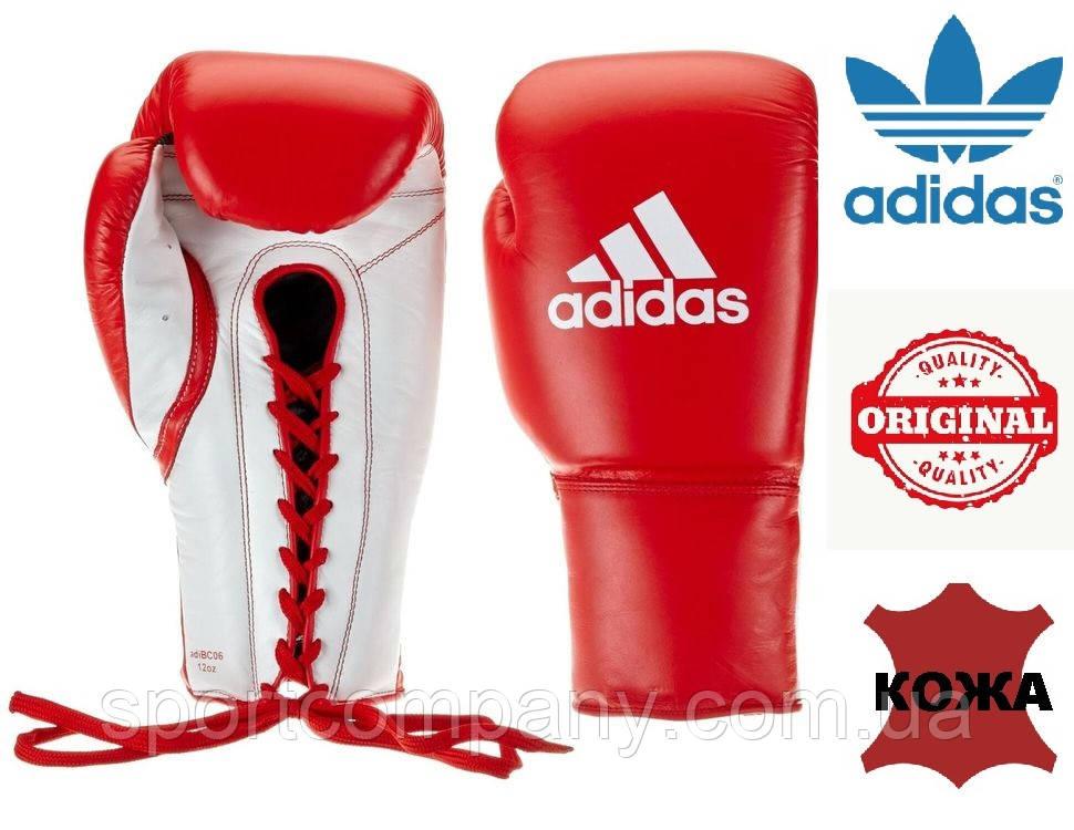 Перчатки боксерские Adidas Glory профессиональные на шнурках (ADIBC06, красные)