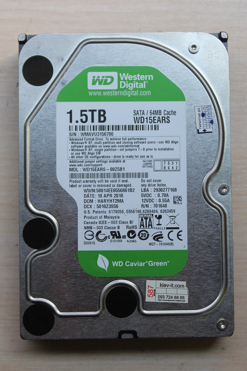 "Жесткий диск Western Digital WD15EARS 1.5TB 3.5"" Б/У"