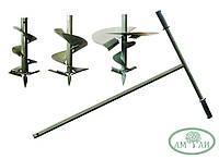 Ручной шнековый бур с тремя диаметрами 110мм, 210мм и 300мм комплект (ВИДЕО)