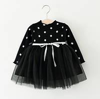 Платье детское в горошек черное