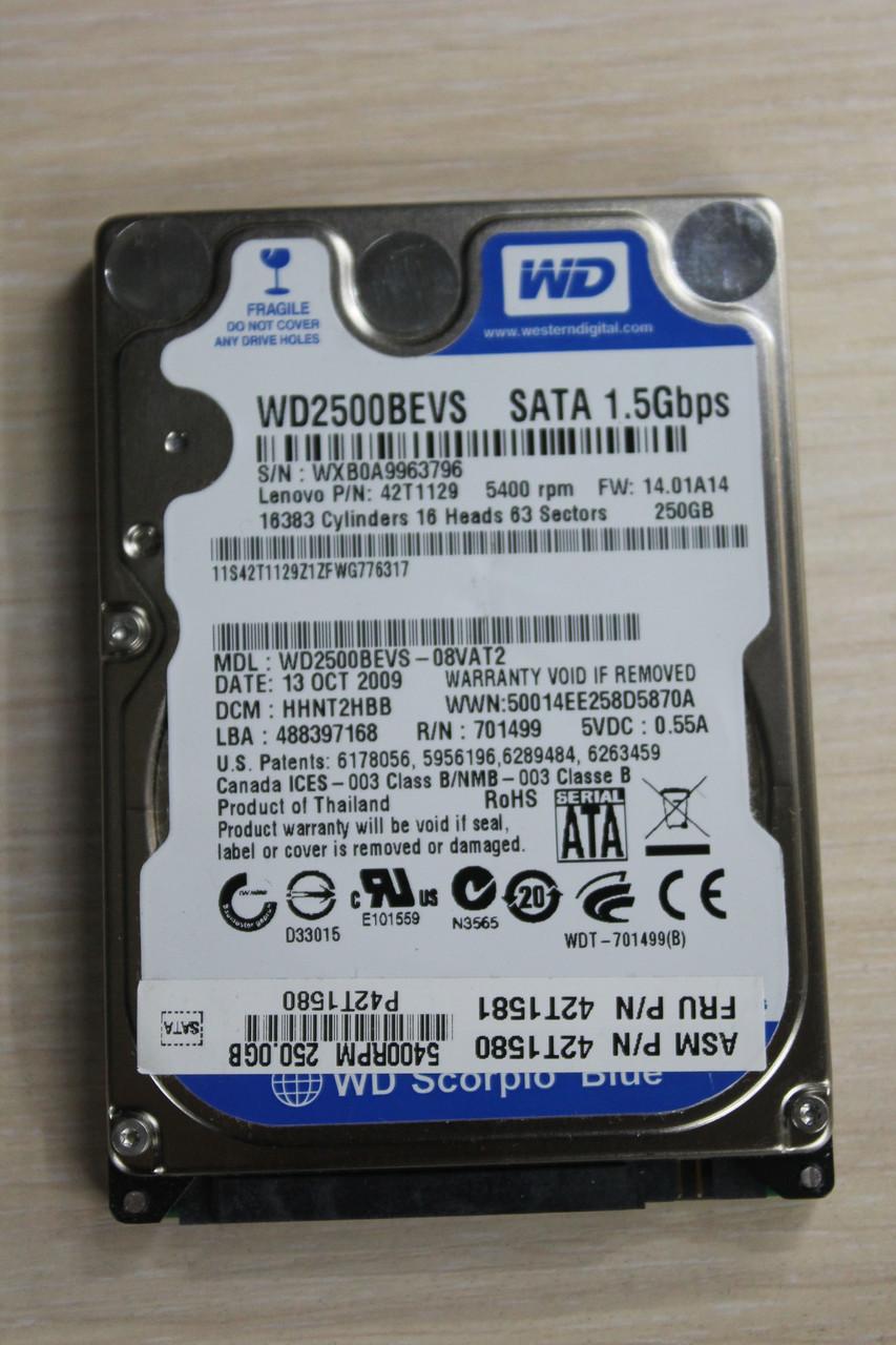 "Жесткий диск Western Digital WD2500BEVS 250GB 2.5"" Б\У"