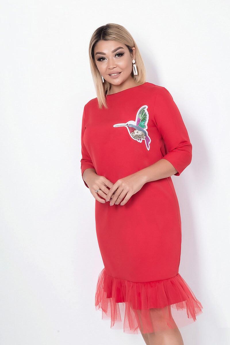 Платье женское карандаш с фатином, красное. Размеры: 48, 50, 52, 54