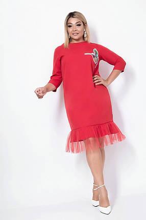 Платье женское карандаш с фатином, красное. Размеры: 48, 50, 52, 54, фото 2