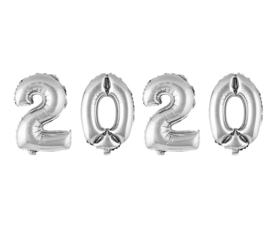 Фольгированныецифры набор2020(40') Китай серебро, 100 см