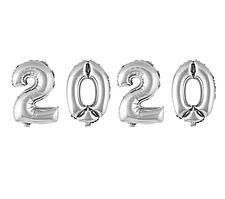 Фольгированные цифры набор 2020 серебро Китай, 100 см (40')