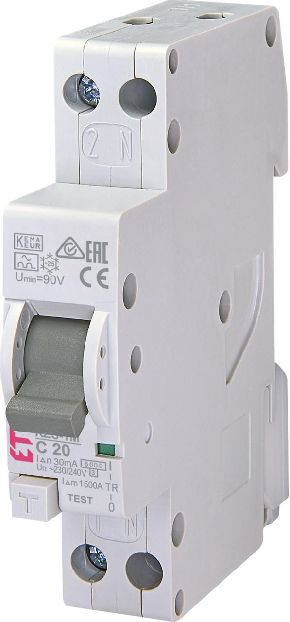 Дифференциальный автомат ETI 1P+N С 20A 6kA 30mA KZS-1M SUP A подкл. снизу (2175225)