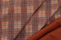 Ткань креп костюмка барби клетка терракот с оранжевой полосой №852, фото 1