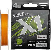 Шнур Favorite X1 PE 4x 150m (orange) #0.8/0.148 mm 15lb/6.8 kg