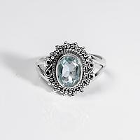 Серебряное кольцо с голубым топазом, 9*6 мм., 1218КТ