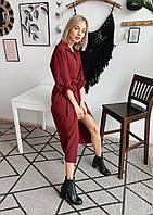 Свободное платье на пуговках (цвет - бордо, ткань - креп костюмка класса люкс) Размер S, M, L (розница и опт)